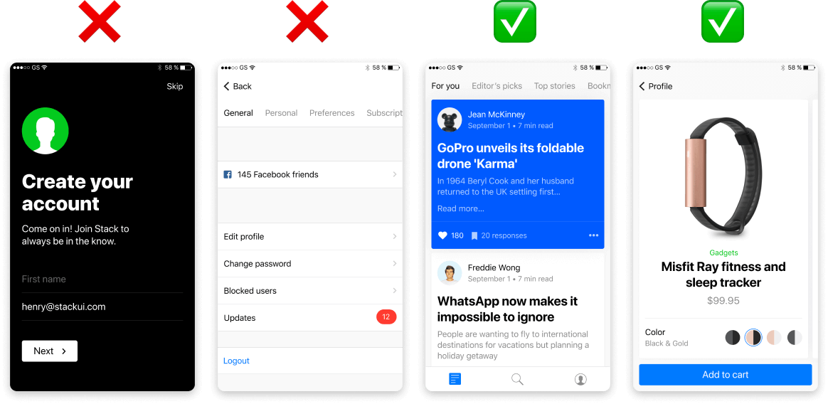 App screens to avoid using in your app screenshots