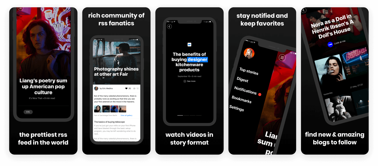Dark News App Screenshot Template