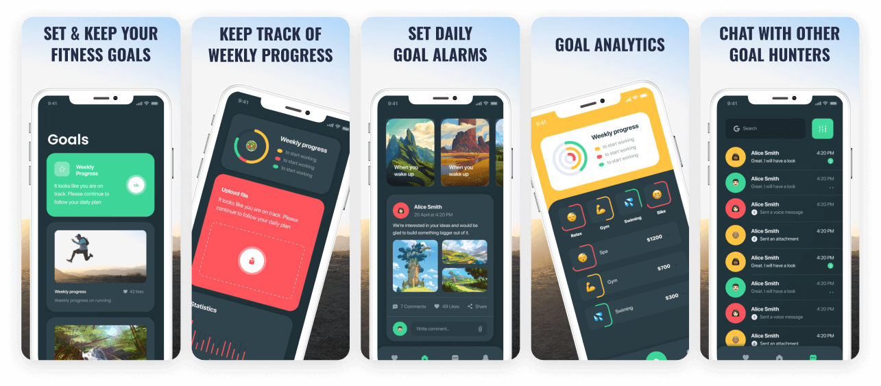 Fitness Goals App Screenshot Template