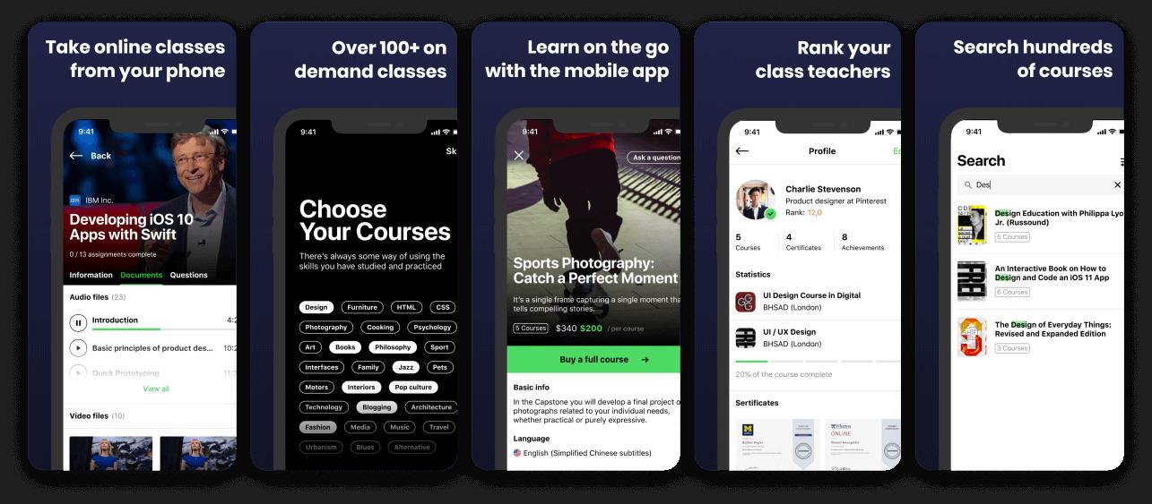 Online Courses App Screenshot Template