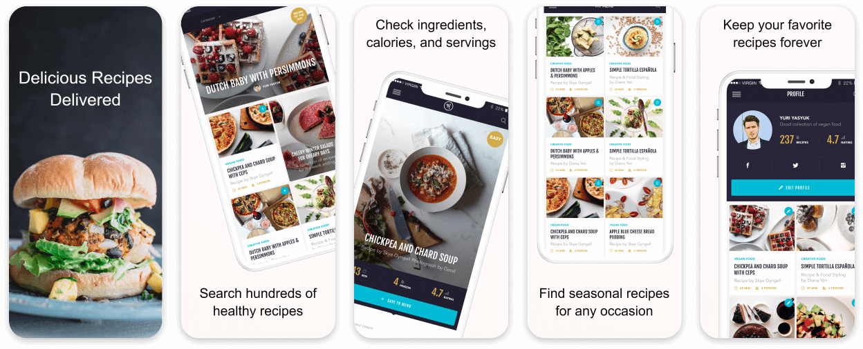 Recipes Food App Screenshot Template