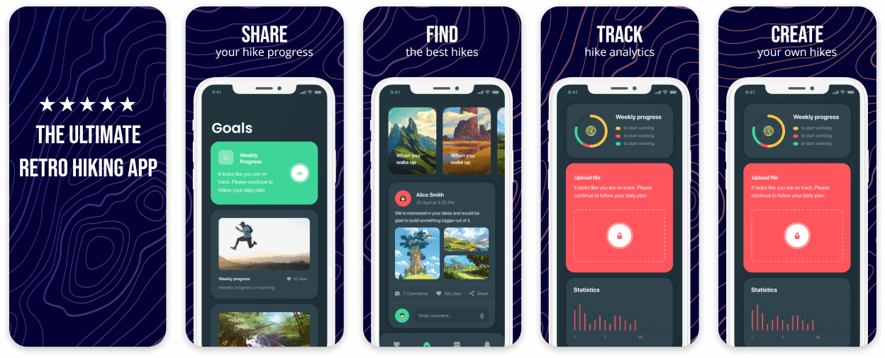 Retro Dark App Screenshot Template