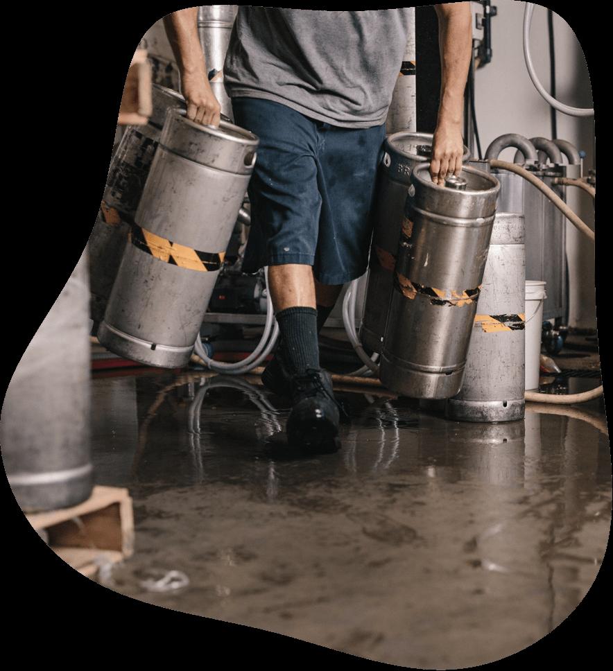 Brewer moving kegs