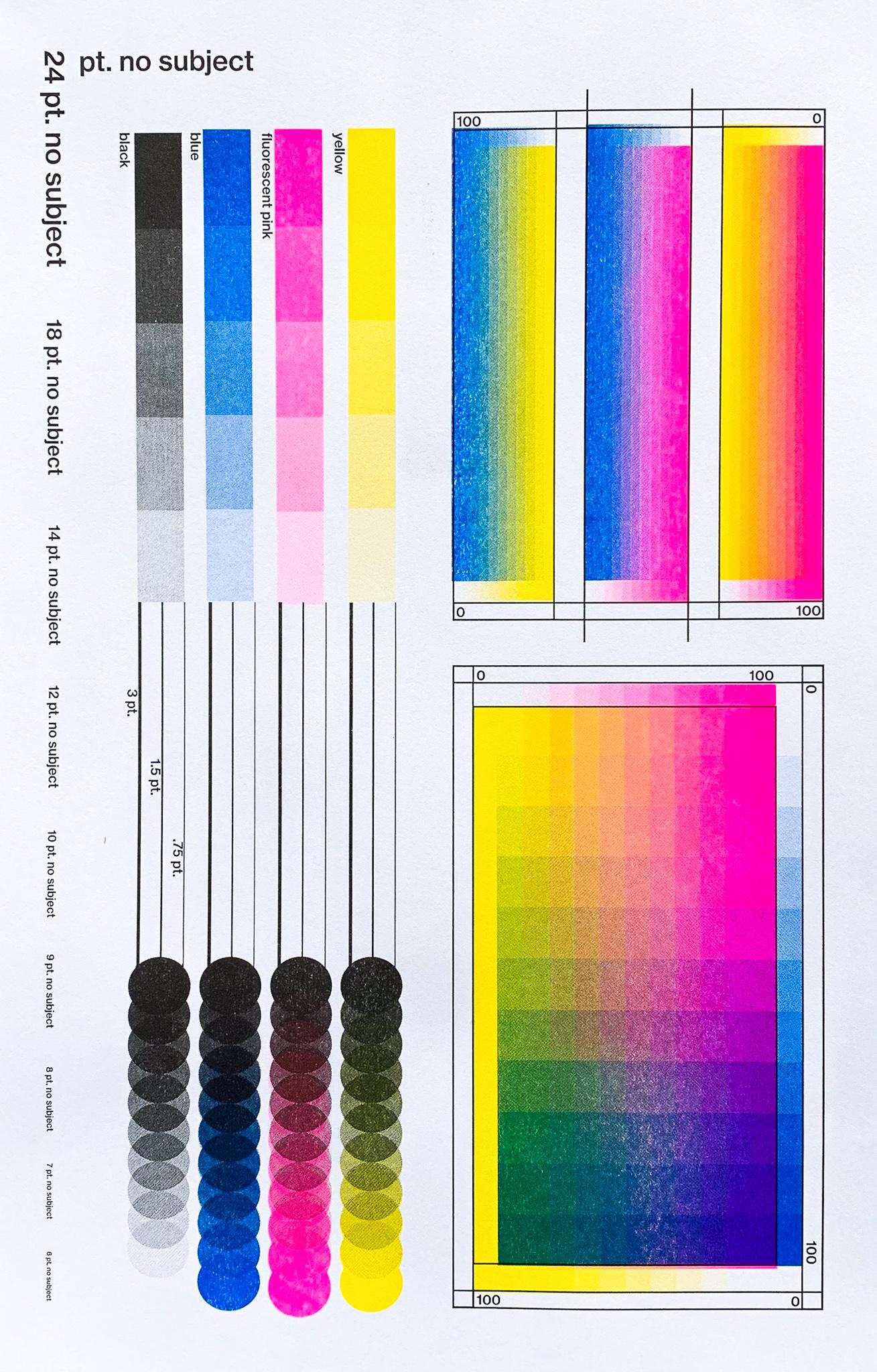 A risograph color chart.