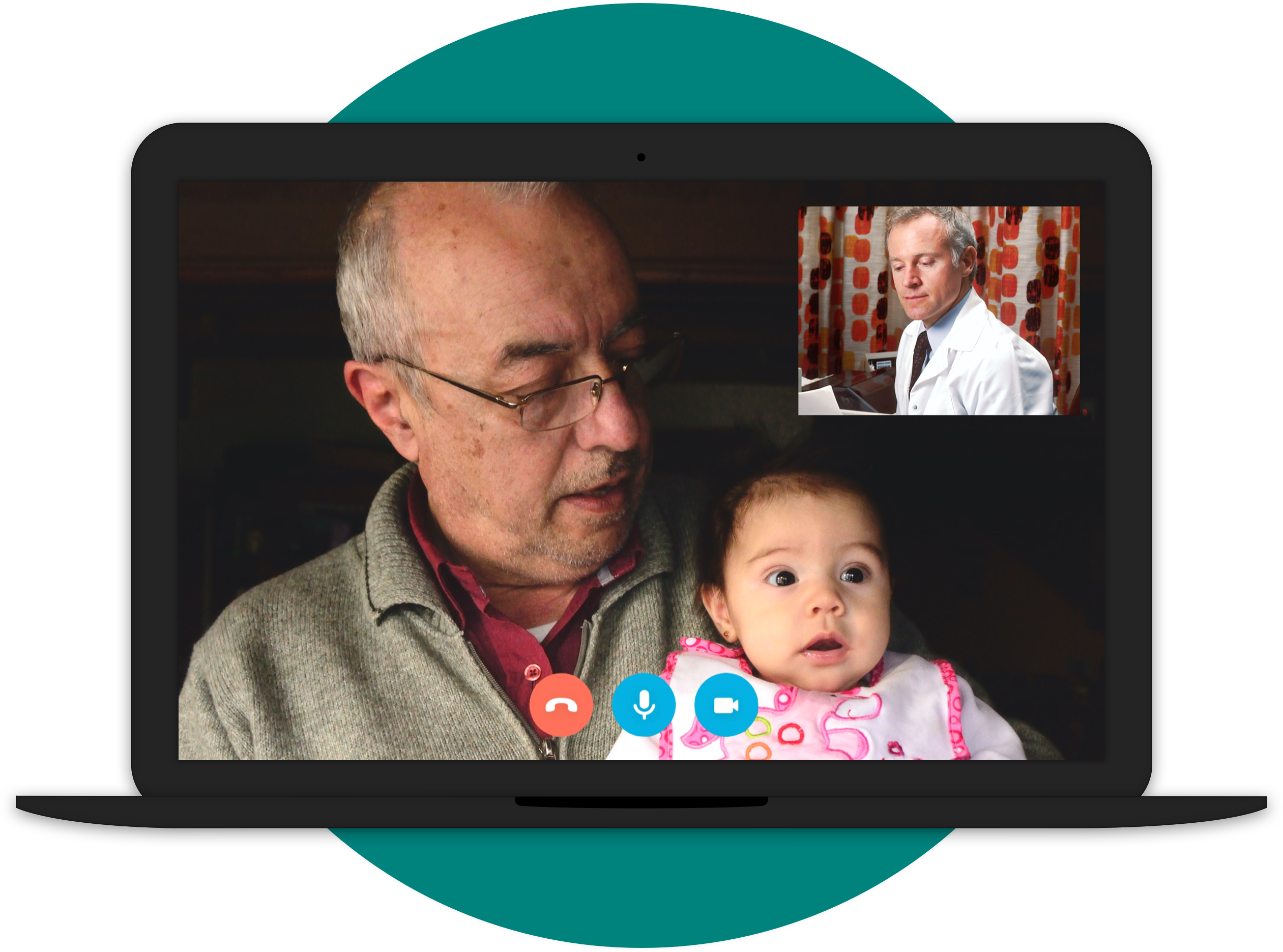 Older gentleman and infant on tablet interface attending a telehealth appointment