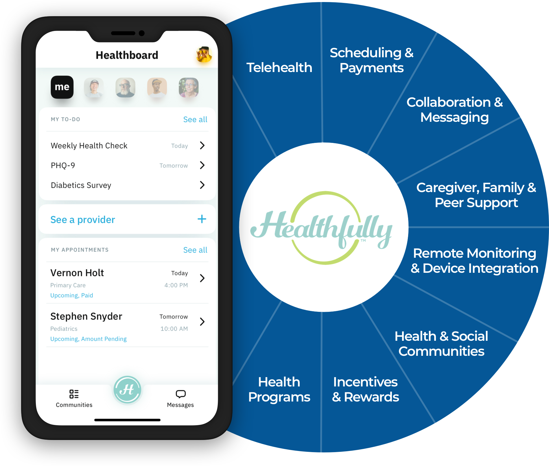 Digital health services offered by Healthfully displayed on smartphone interface