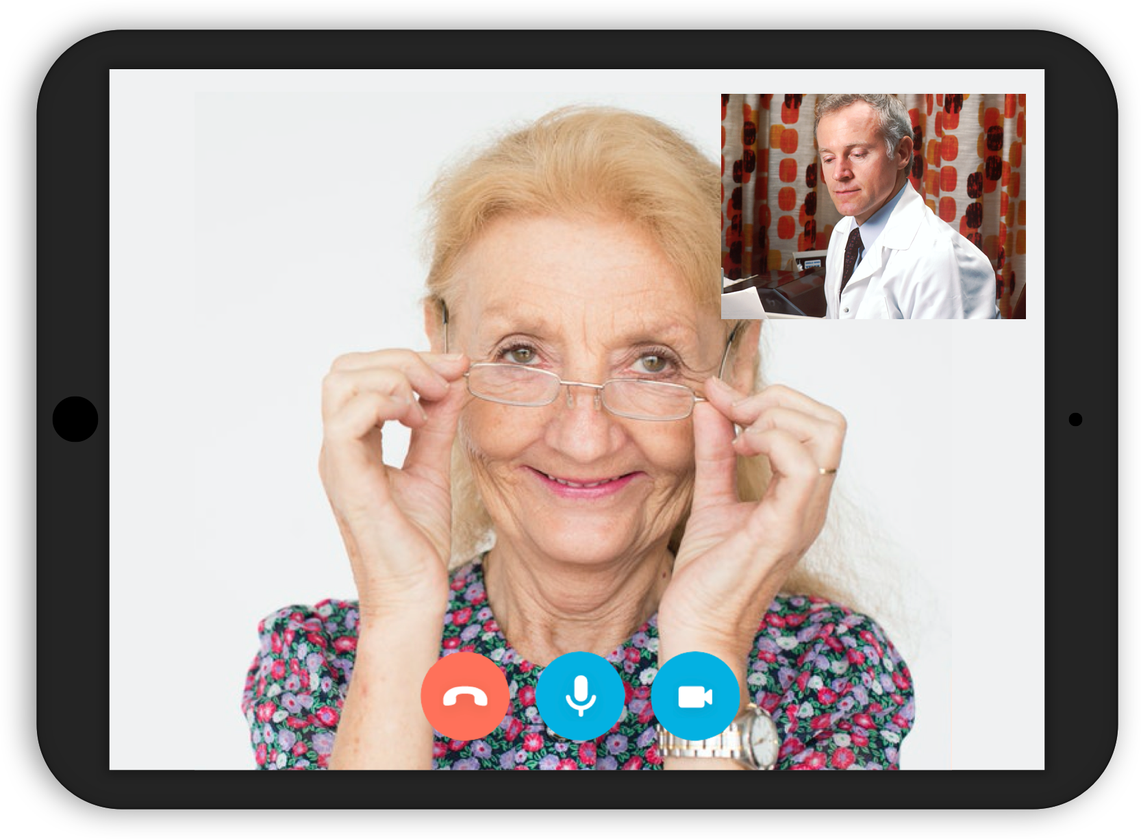 Woman attending a telehealth visit via a table
