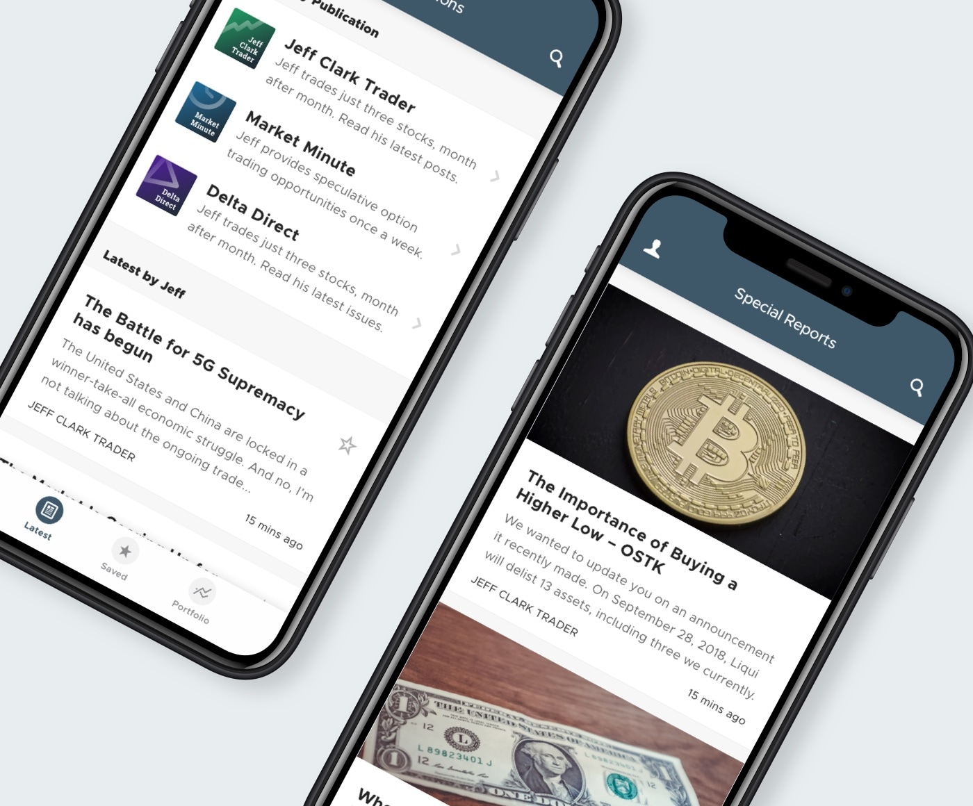 Screenshots of the Jeff Clark app.