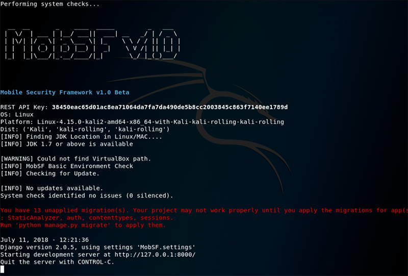 MobSF on Kali Linux - step 7