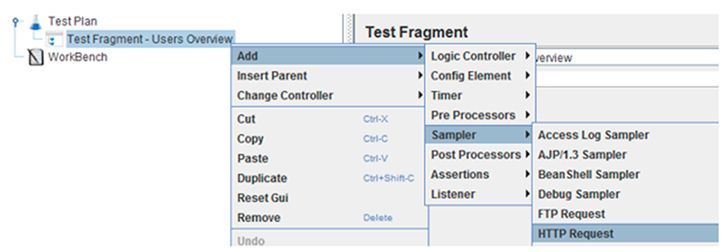 Create a test fragment