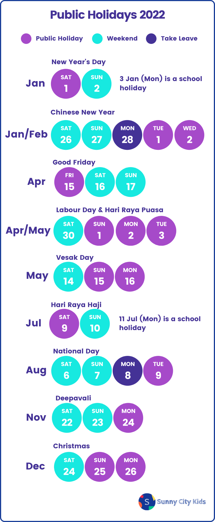 2022 Singapore School Holiday, Public Holidays, and Long Weekends