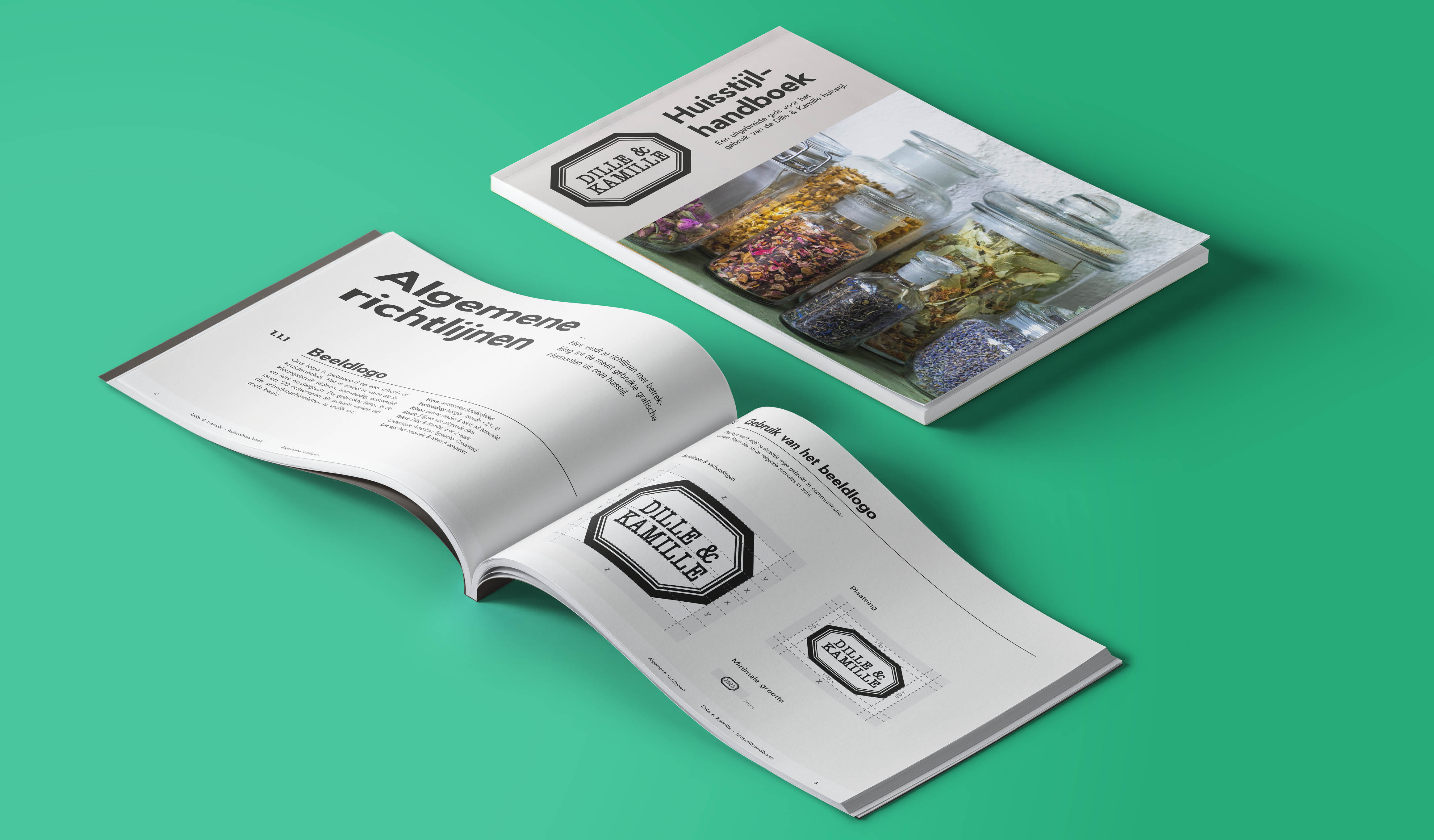 Een huisstijl handboek/brandbook ontworpen en opgesteld voor Dille & Kamille