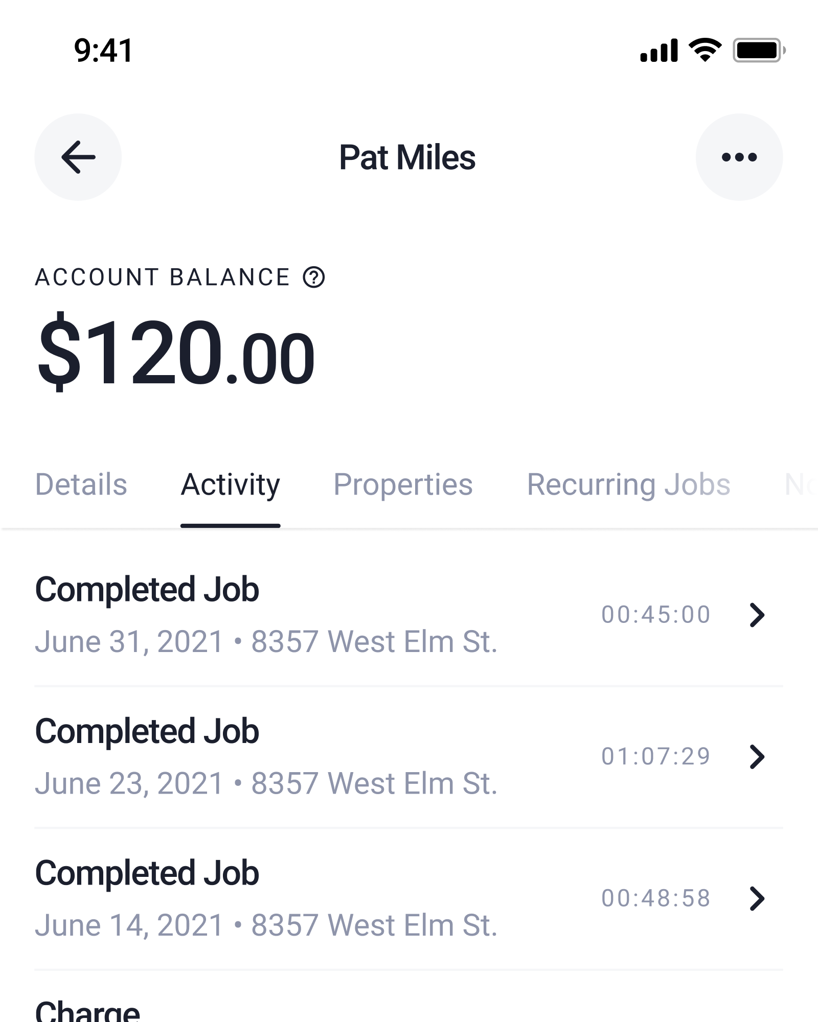 Screenshot of the Client Details screen in the Check App