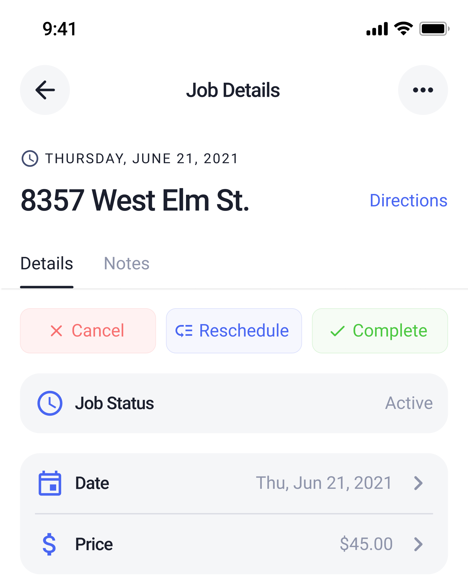 Screenshot of the Job Details screen in the Check App