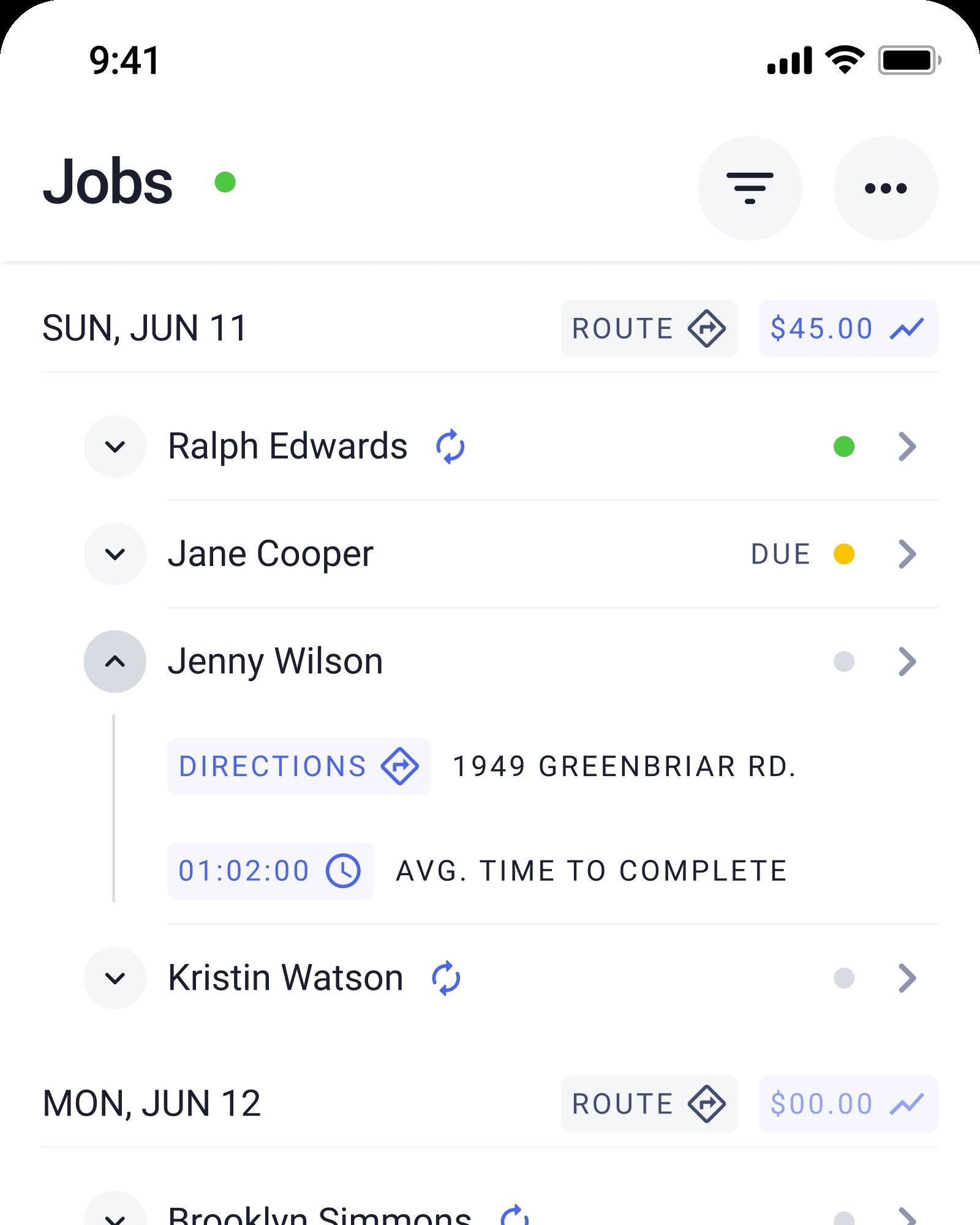 Screenshot of the Job Schedule screen in the Check App