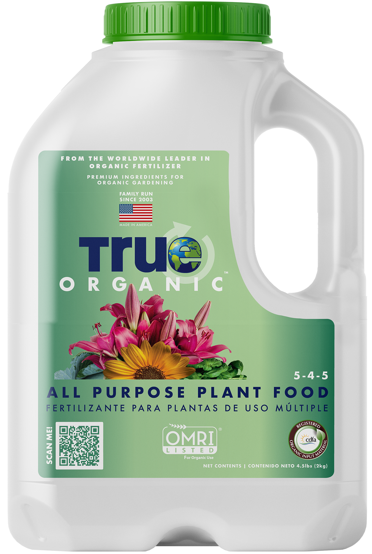 Jug Of True Organic All Purpose Plant Food