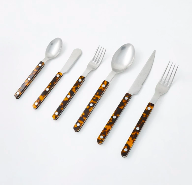Tortoise cutlery set Bistro table styling blog