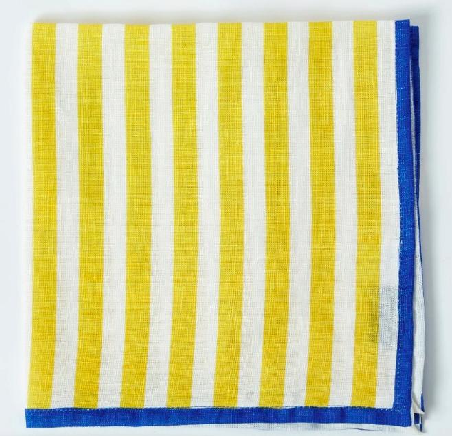 Coran yellow stripe napkin style blog table styling