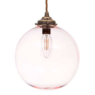 Holborn Dusky Pink Coloured Glass Pendant Light in Antiqued Brass