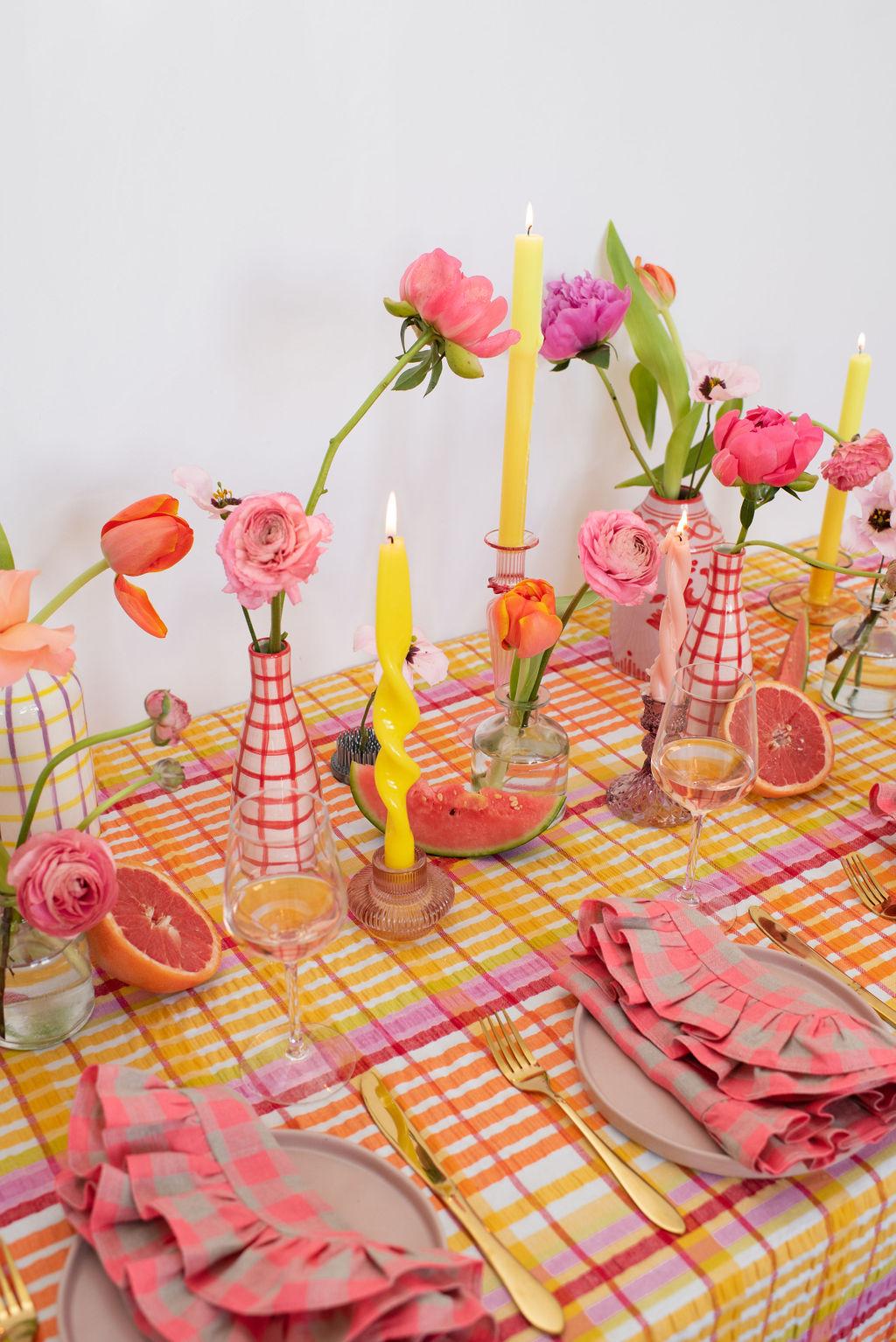 Clara Ruffle Napkin - Pink Chessboard
