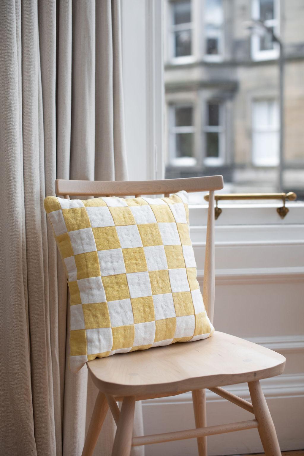Studio Eldorado - Yellow Chequered Cushion