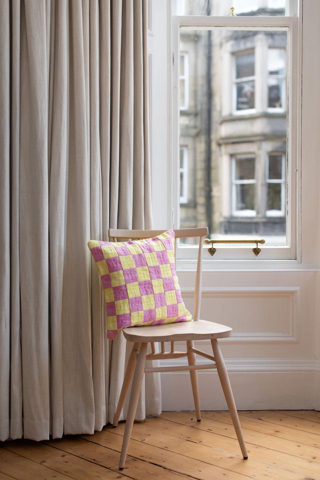 Style Your Spaces X Studio Eldorado  - Pink + Yellow Chequered Cushion
