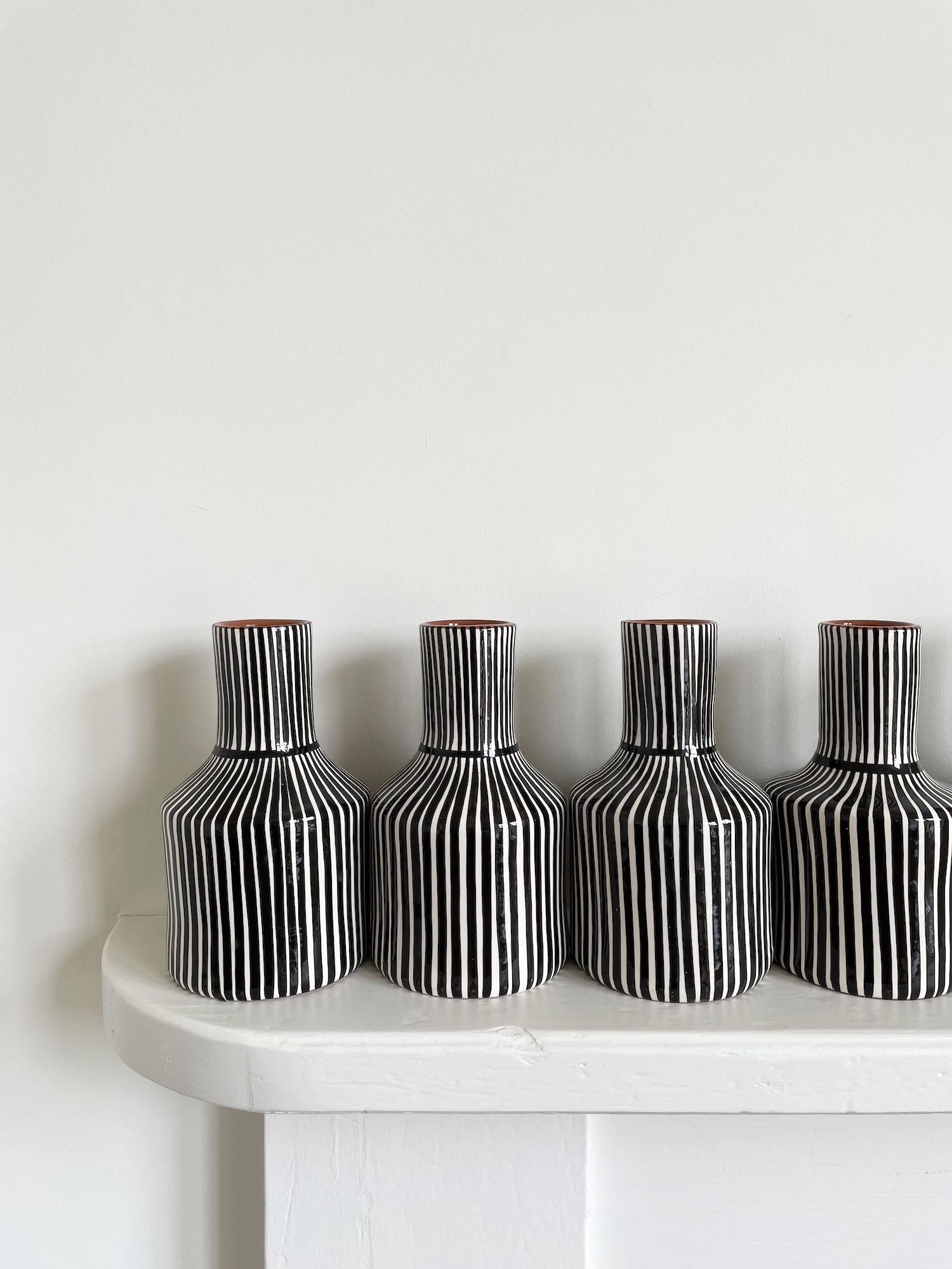 Striped Terracotta Vase  - Handmade in Portugal - Black or Green