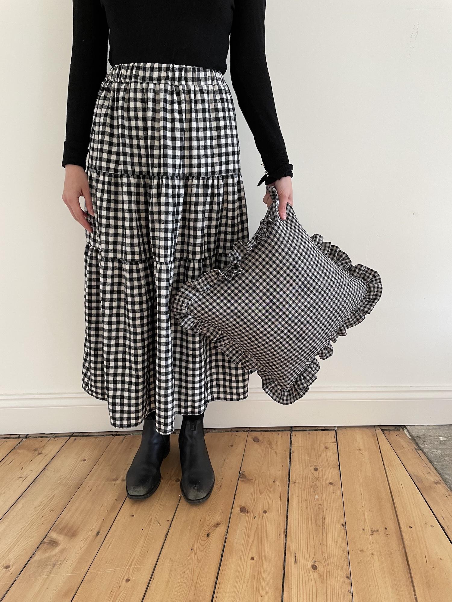 Black + Beige Gingham Ruffled Cushion
