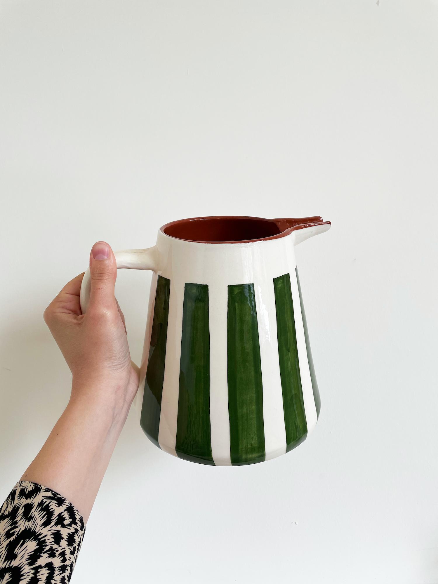 Green Striped Jug - Handmade in Portugal