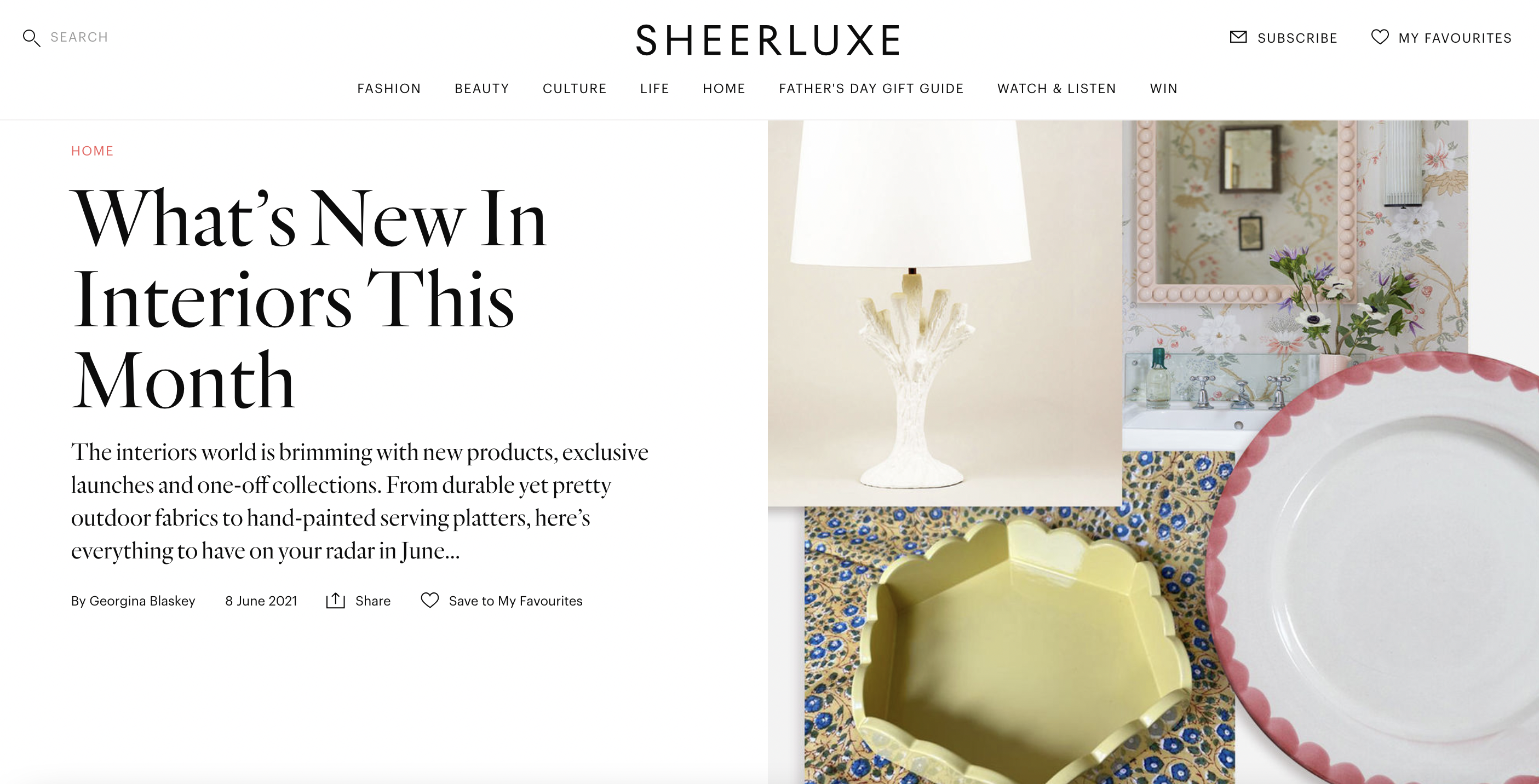 SHEERLUXE- 'What's New In Interiors This Month'