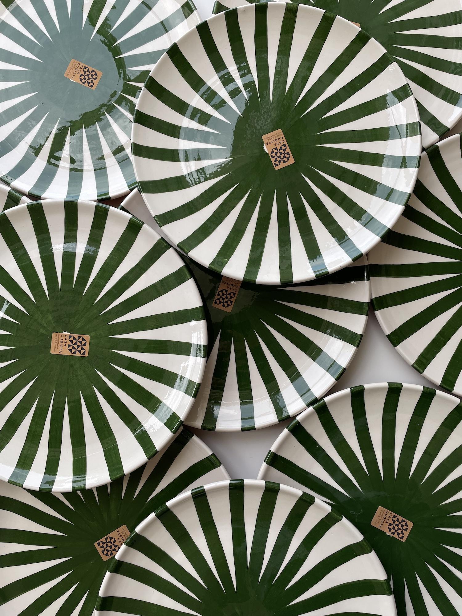 Green Striped Plate - Handmade in Portugal