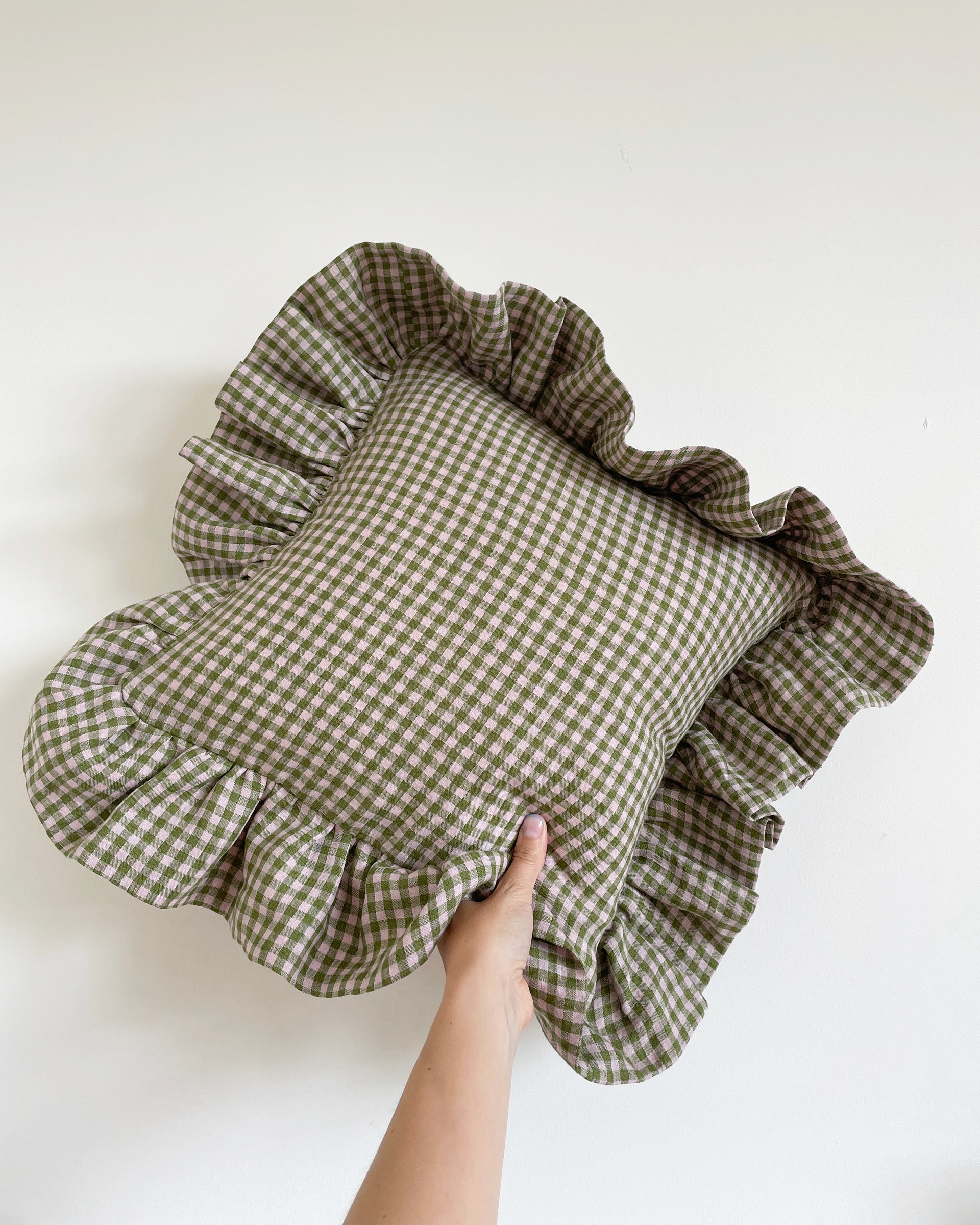 Green + Pink Gingham Cushion - Wide Frill