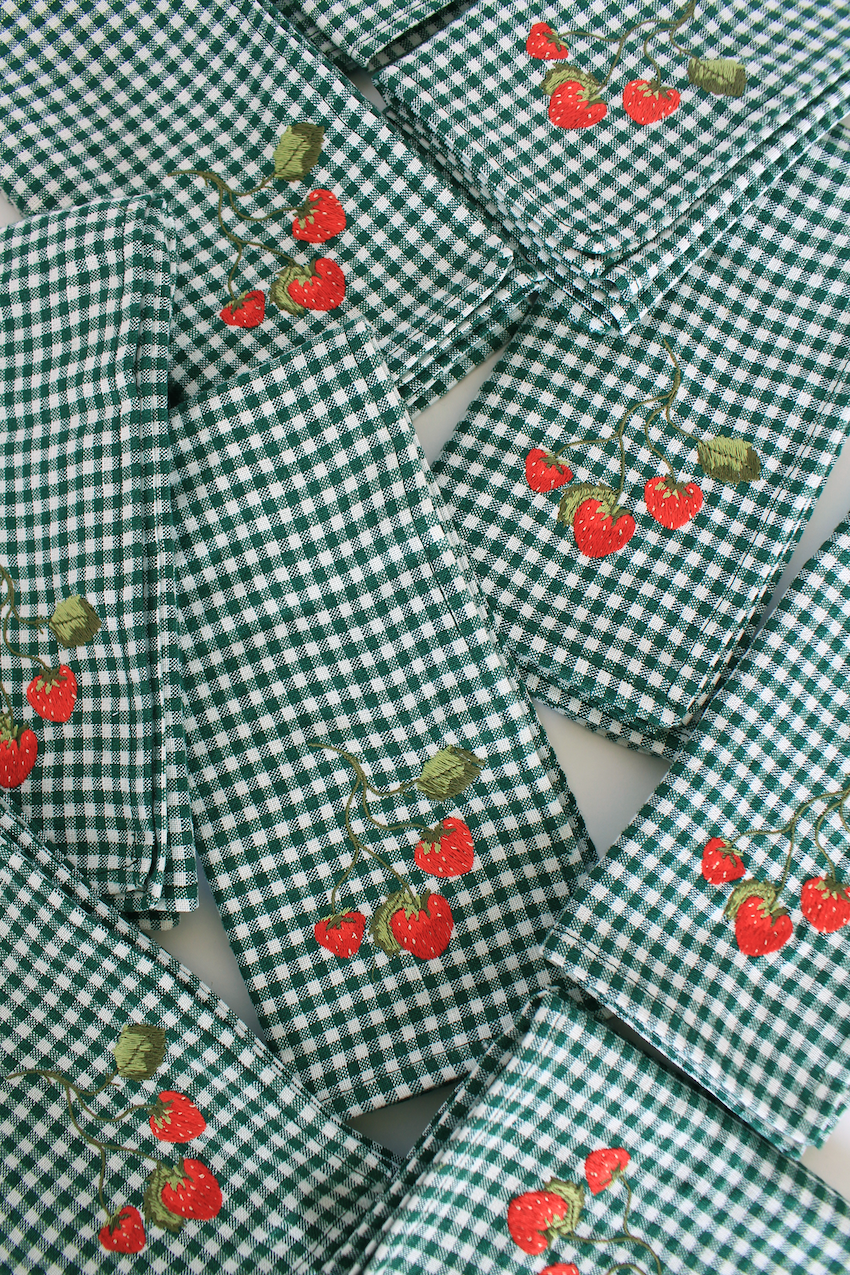 Pair of Strawberry Napkins - Green Gingham LIMITED EDITION