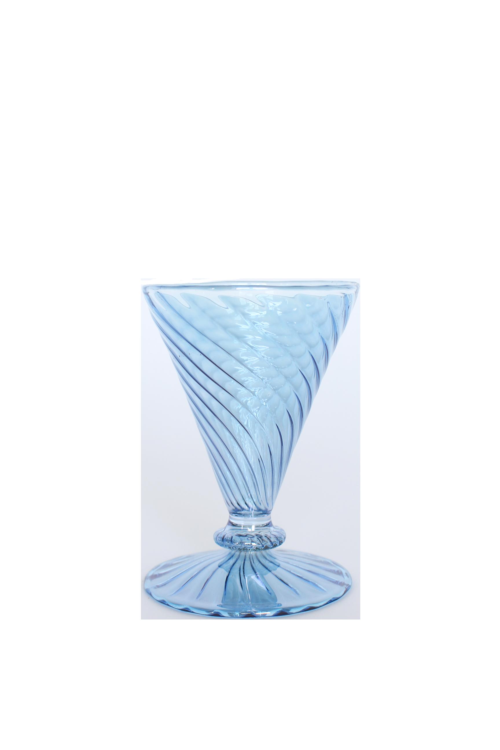 Swirled Wine Glass - Blue/Green