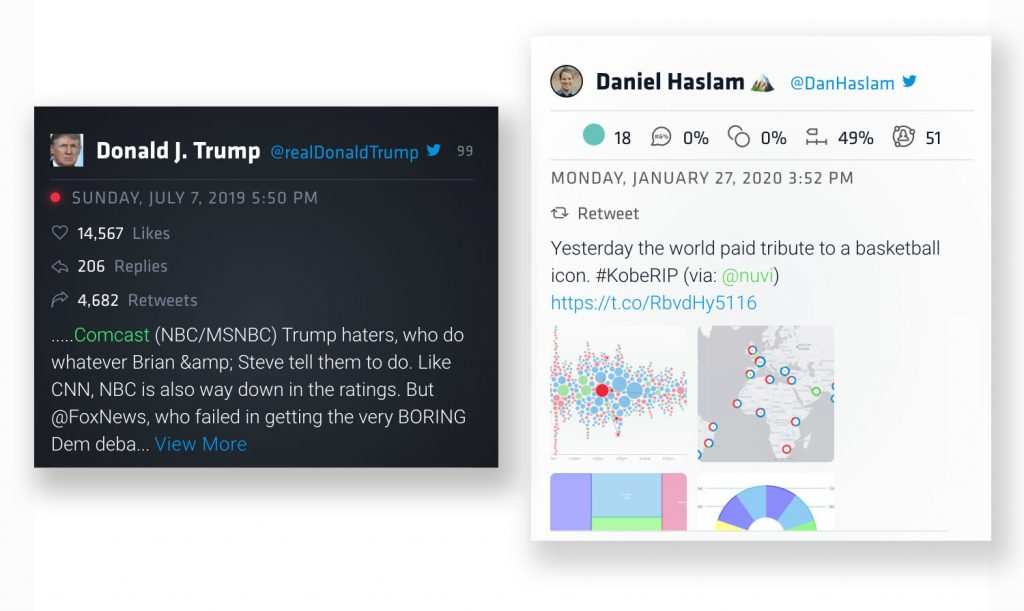 The left mention card is black in color and shows a tweet from Trump targeting Comcast. This card has the old format. The new mention card on the right is white. The author is Dan Haslam and he wrote about Kobe Bryant's death. His mention card shows the new data metrics released with the new Nuvi Language Engine.