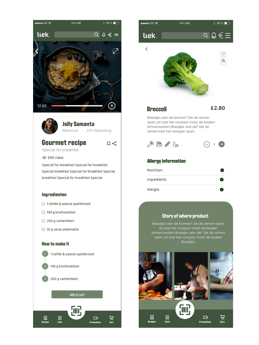 product page of omnic app