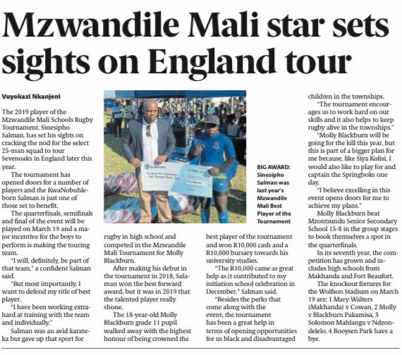 Article, The Herald newspaper 05 March 2020, Mzwandile Mali star sets sights on England tour