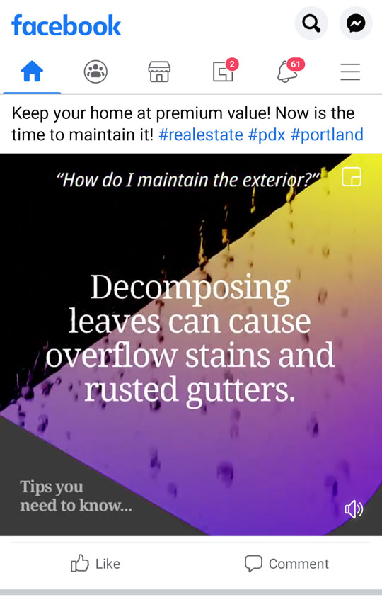 Sample of content: Stylized image of rain dripping off a house. Text says Decomposing leaves can cause overflow stains and rusted gutters.