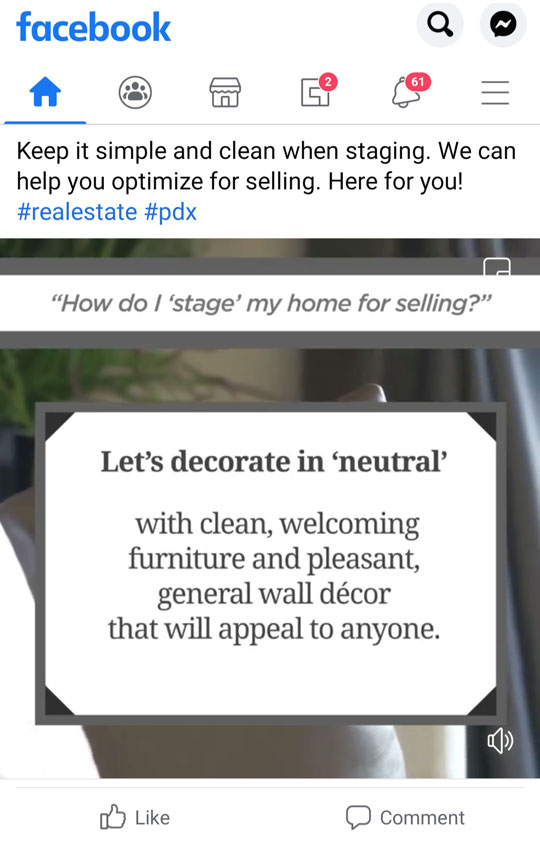 Sample of content: Stylized image of home. Text encourages and educates potential client.