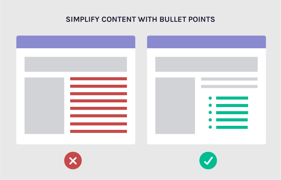 make your content readable with bullet points - increase conversion rates