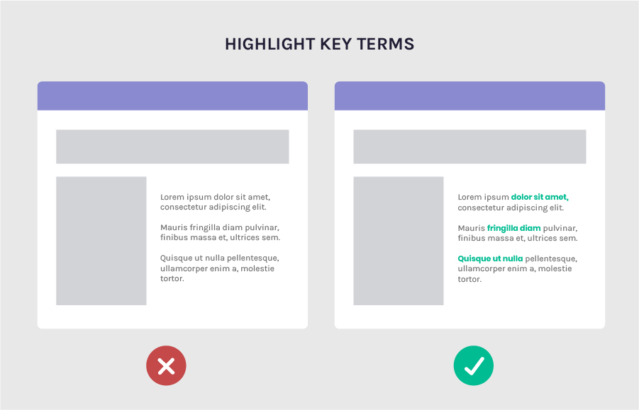 Increase legibility by highlighting key terms