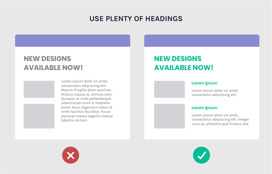 Increase legibility by using headings