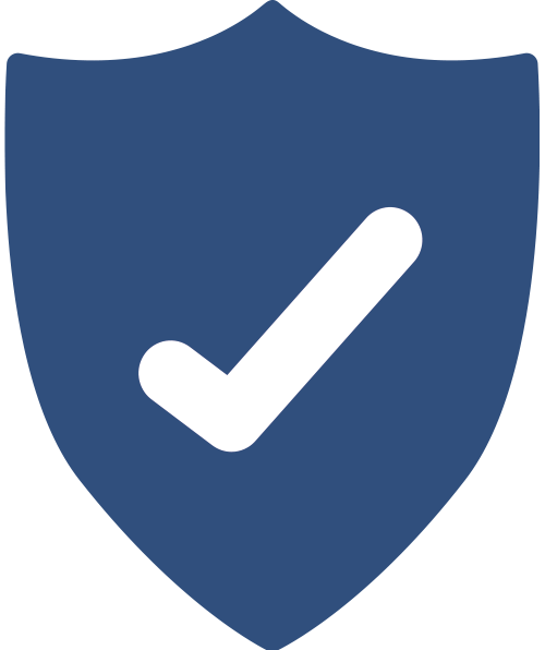 Icon of a protective shield in blue with a white checkmark