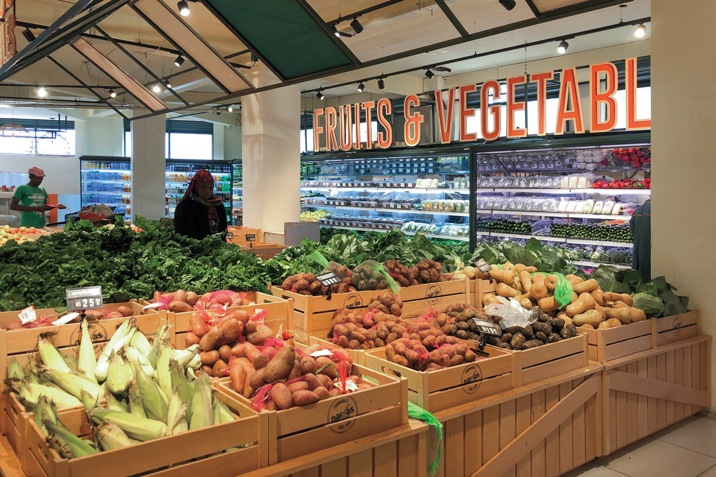 fruits and vegetables in supermarket