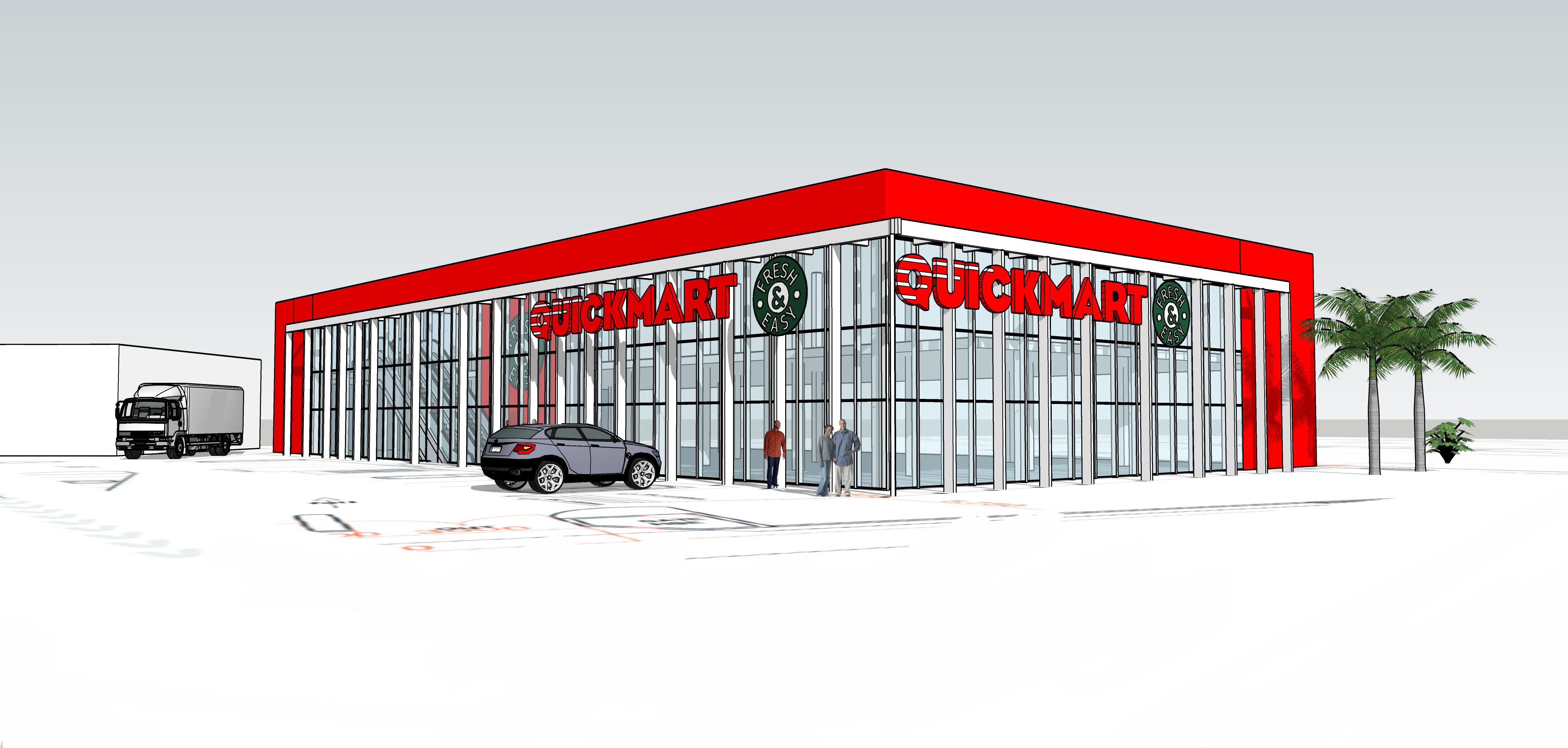 render of store front quickmart