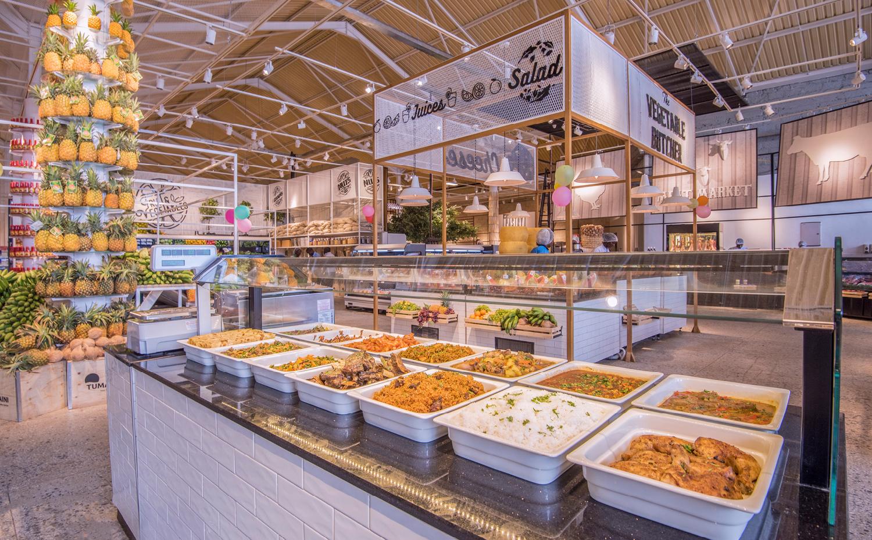 rich food buffet inside supermarket