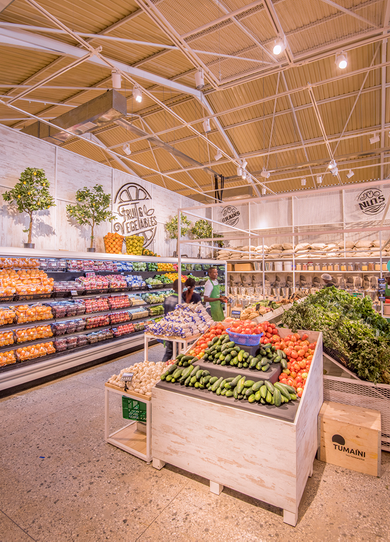 Beautiful supermarket with colourful fruits