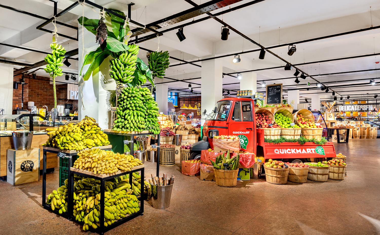 nicely stacked vegetables and fruit in supermarket