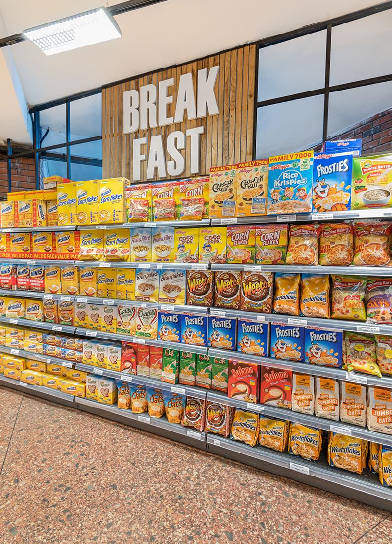 shelves full of cereal