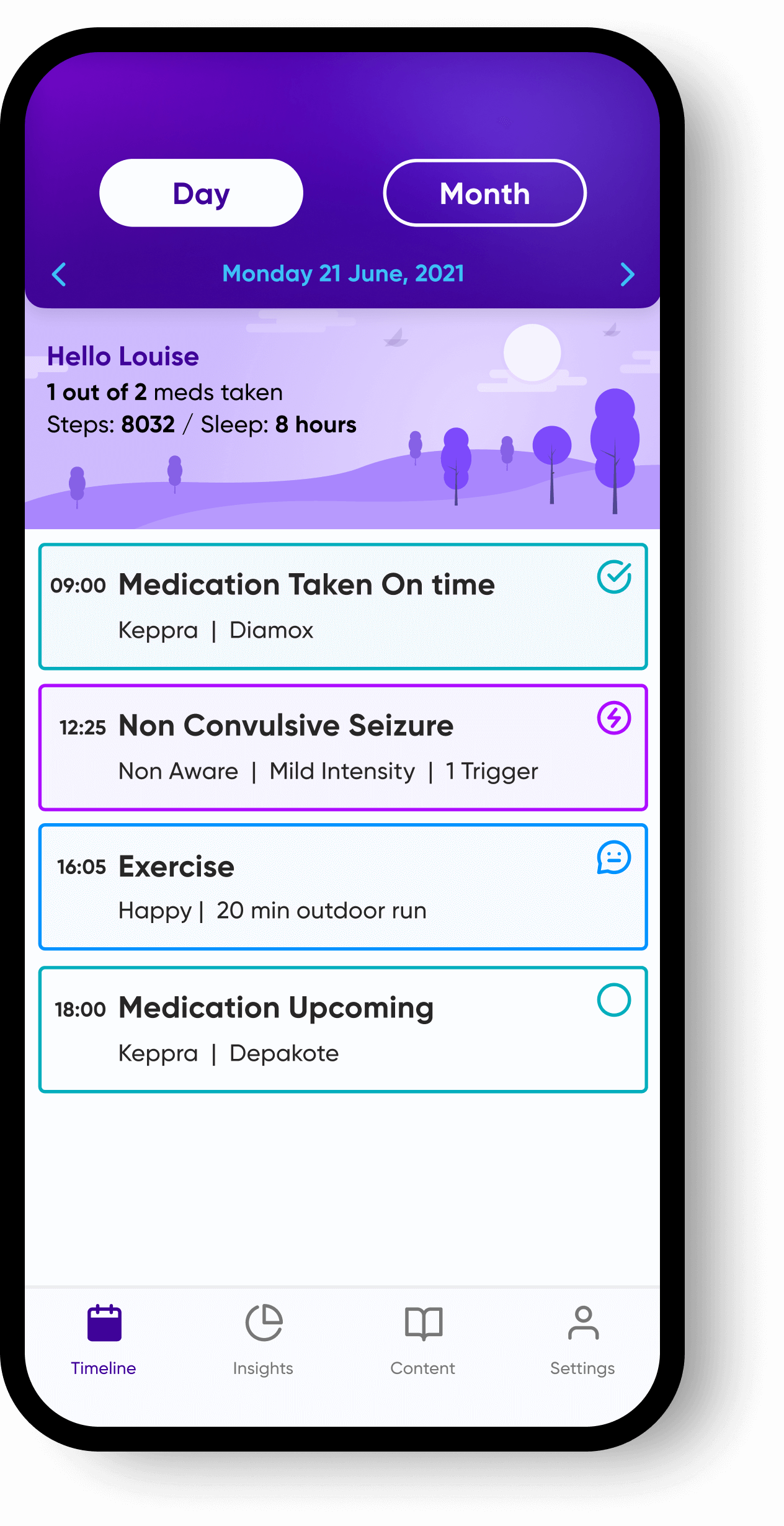 Timeline view from within the epilepsy app, Epsy